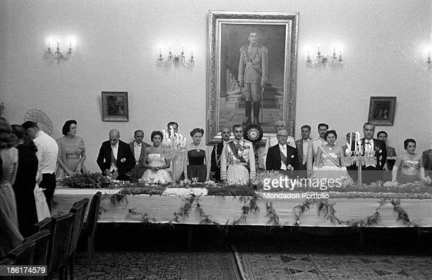 Italian politician and President of the Italian Republic Giovanni Gronchi his wife Carla Gronchi the Shah of Iran Mohammad Reza Pahlavi and Her...