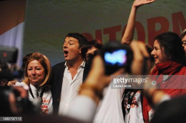 Italian Politician and Senator Former Italian Prime Minister and fomer Secretary of Partito Democratico Matteo Renzi greets his fans during the...
