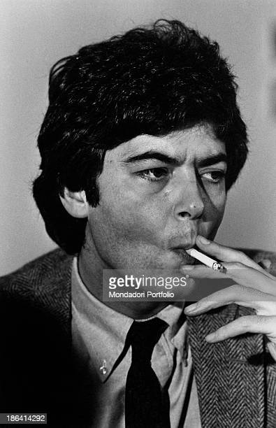 Italian politician and vicesecretary of Italian Socialist Party Claudio Martelli smoking a cigarette Italy 1980s