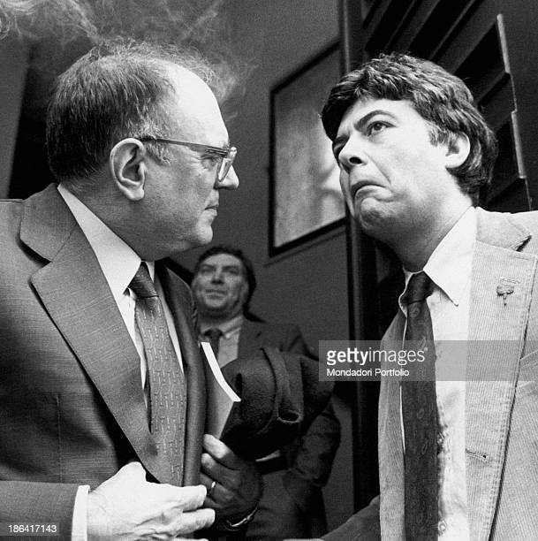 Italian politician and vicesecretary of Italian Socialist Party Claudio Martelli making a face talking with Italian politician Rino Formica Italy...