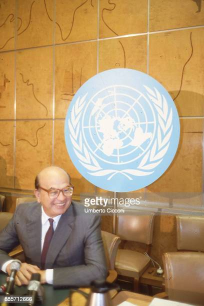 Italian politician Bettino Craxi at the Headquarters of the United Nations, New York 1991.