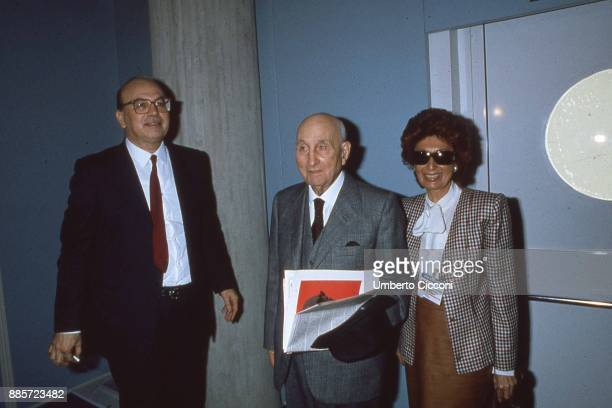 Italian politician Bettino Craxi is with his father Vittorio Craxi and his wife Anna Maria Moncini in Milan in 1989