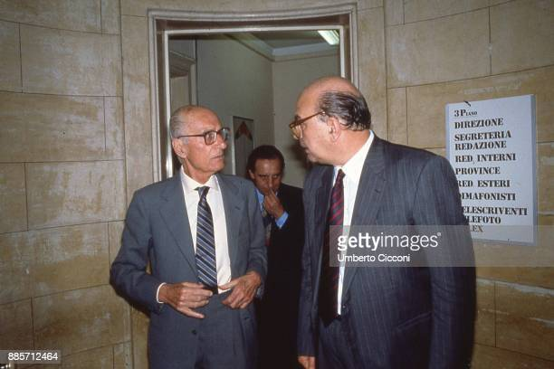 Italian politician Bettino Craxi is with Italian journalist and historian Indro Montanelli at the headquarters of newspaper Il Giornale Milan 1990