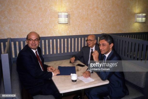 Italian politician Bettino Craxi is with politicians Giorgio Napolitano and Antonio Bassolino at the Socialist International in Berlino 1990