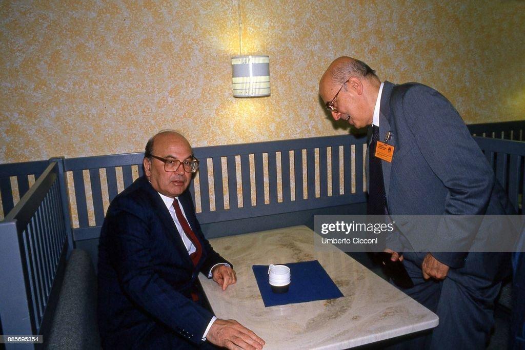Italian politician Bettino Craxi is with politicians Giorgio Napolitano at the Socialist International (SI) in Berlino 1990.