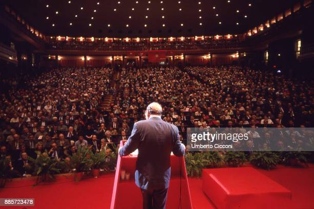 Italian politician Bettino Craxi speaks at the conference for the 100 years of the Italian Socialist Party . The day after this conference the...