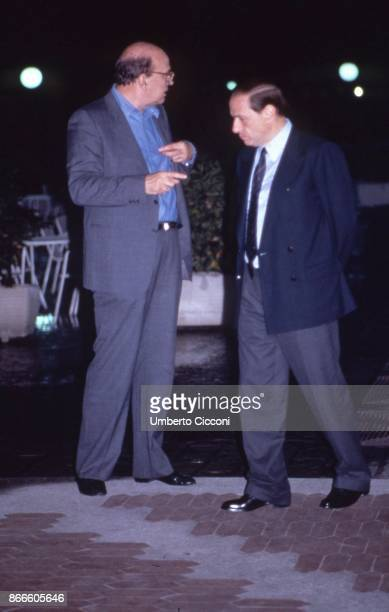 Italian politician Bettino Craxi talking with Silvio Berlusconi at the Fininvest studios in Milan April 1987
