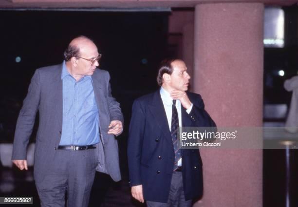 Italian politician Bettino Craxi talking with Silvio Berlusconi at the Fininvest studios in Milan April 1987