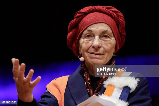 Italian politician Emma Bonino speaks during a ceremony regarding her doctor honoris causa honorary degree at the VUB university on November 29 in...