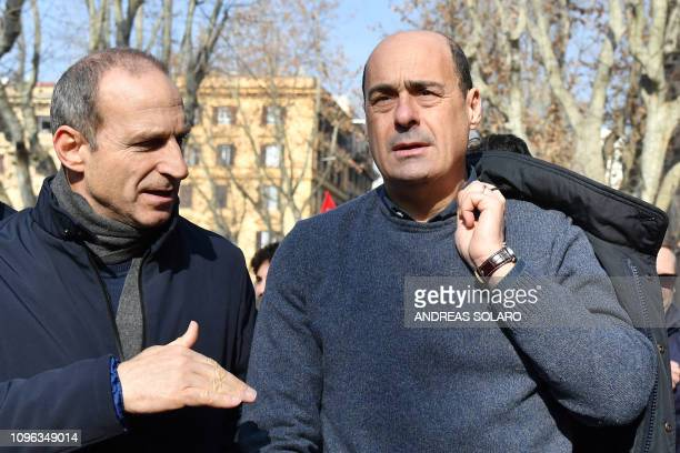 Italian politician founding member of the Democratic Party and current President of the Lazio region Nicola Zingaretti takes part in a demonstration...