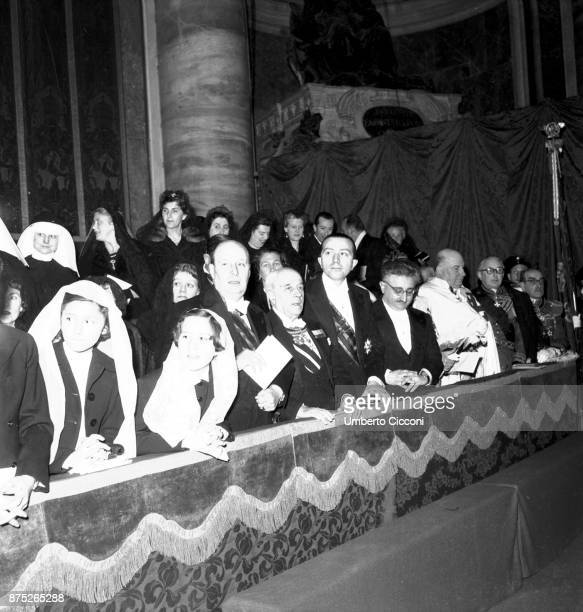 Italian politician Giulio Andreotti at the Vatican for a religious ceremony 12th March 1964 It is the opening ceremony for the statue in honour of...