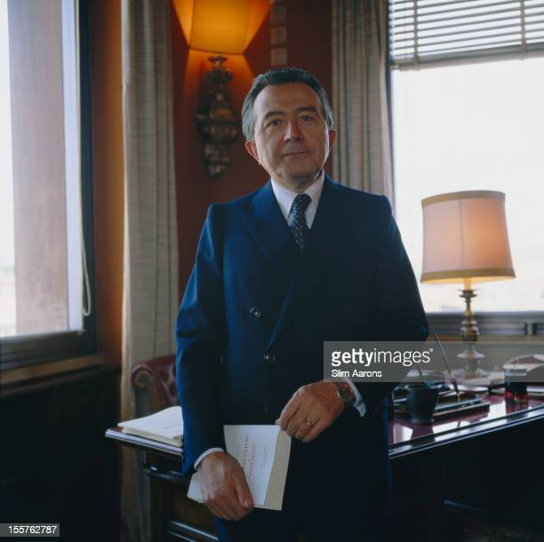Italian politician Giulio Andreotti of the Christian Democracy party poses in his office in Rome Italy in May 1981 Andreotti served as Prime Minister...