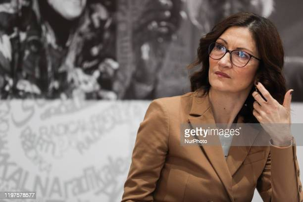 Italian politician Mariastella Gelmini, leader of the Forza Italia Chamber, during the press conference 'even the innocent go to prison' in...