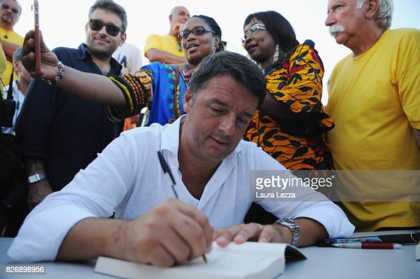 Italian politician Matteo Renzi Secretary of the Democratic Party attends the presentation of his new book 'Avanti' and signs copies on August 5 2017...