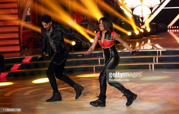 Italian politician Nunzia De Girolamo and her dance partner Raimondo Todaro perform on the tv show Ballando Con Le Stelle at RAI Auditorium on March...