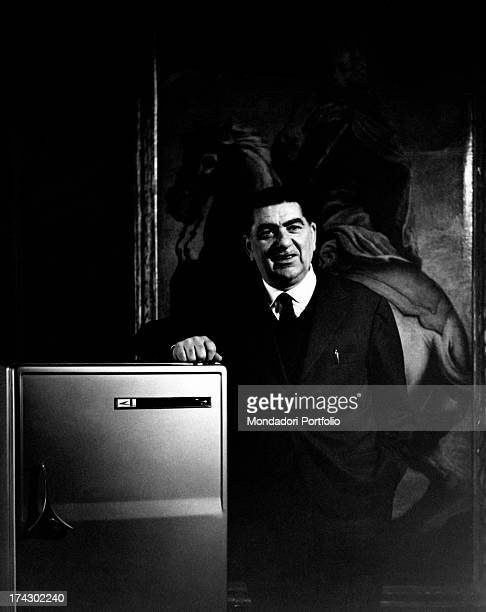 Italian politician Paolo Bonomi speaking in a meeting organized by Coldiretti that he founded and predides over At his left Italian politician Pietro...