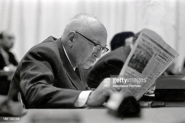 Italian politician Pietro Nenni reading a newspaper at the congress of the Italian Socialist Party at the Teatro Lirico Milan 1962