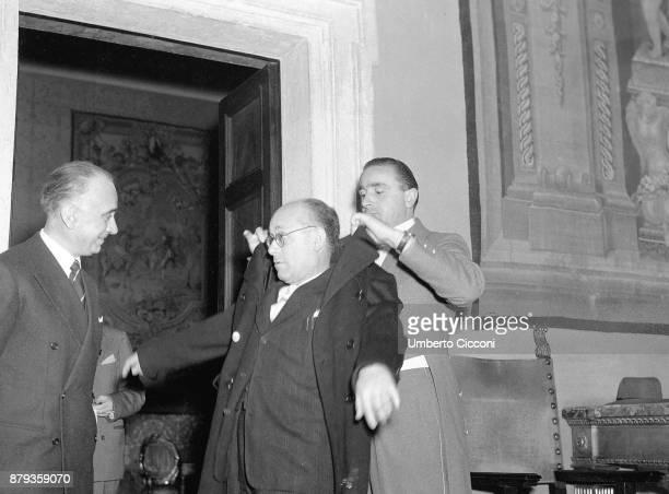 Italian politician Umberto Terracini after a political meeting Rome 1949