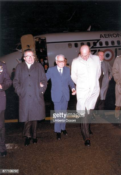 Italian Politicians Bettino Craxi Sandro Pertini and Giulio Andreotti returning from a trip to Moscow Ciampino Airport 1985