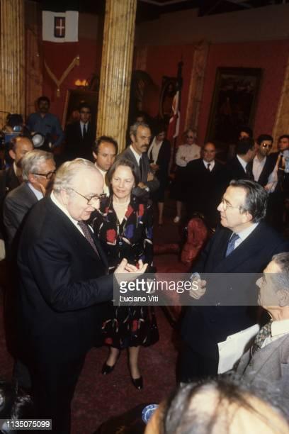 Italian politicians Giovanni Spadolini Nilde Iotti and Giulio Andreotti Rome 1982