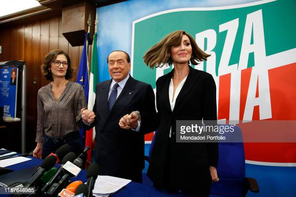 Italian politicians Silvio Berlusconi, Anna Maria Bernini and Mariastella Gelmini, members of the Forza Italia party, during the No Tasse e Manette...