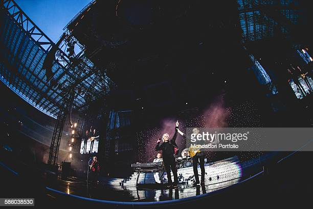 Italian pop band Pooh during the concert at the Stadium San Siro, first date of the Reunion - L'ultima notte insieme Tour. From left to right:...