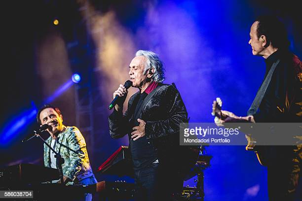 Italian pop band Pooh during the concert at the Stadium San Siro, first date of the Reunion - L'ultima notte insieme Tour. From left to right: singer...