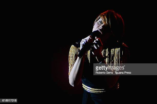 Italian pop singer Alessandra Amoroso performs his concert Vivere a Colori at Unipol Arena on October 27 2016 in Bologna Italy