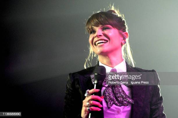 Italian pop singer Alessandra Amoroso performs on stage at Unipol Arena on March 15 2019 in Bologna Italy