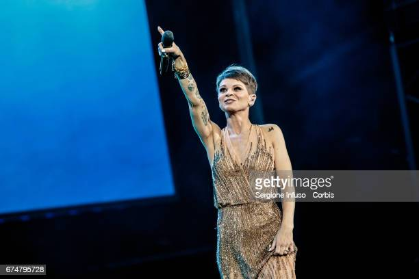 Italian pop singer Alessandra Amoroso performs on stage on April 28 2017 in Verona Italy