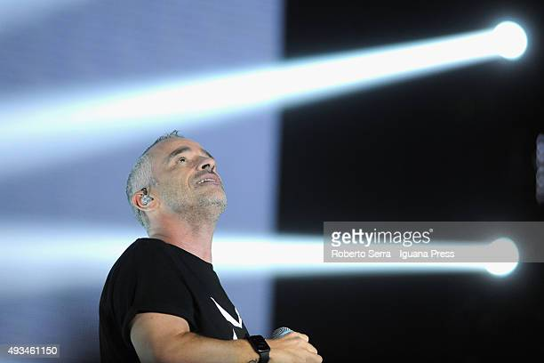 Italian pop singer and author Eros Ramazzotti performs at Unipol Arena on October 20 2015 in Bologna Italy