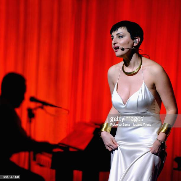 Italian pop singer Arisa aka Rosalba Pippa performs at Duse Theater on February 3 2017 in Bologna Italy