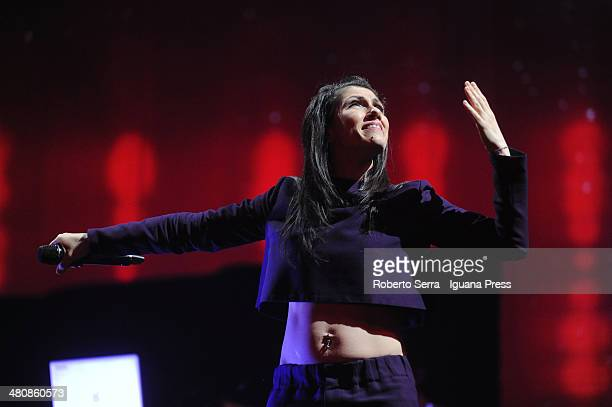 Italian pop singer Elisa perform a concert of her 'Anima Vola' tour at Unipol Arena on March 22 2014 in Bologna Italy