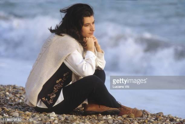 Italian pop singer Laura Pausini Ostia Italy 1991