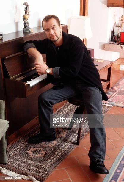 Italian pop singer Marco Masini in his house Florence Italy circa 2000