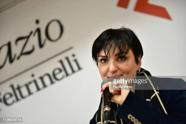 Italian pop singer Rosalba Pippa also knwon as Arisa during the presentation of his new album unpublished Una nuova Rosalba in città which also...