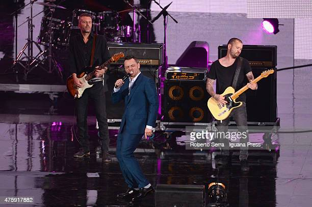 Italian pop singer Tiziano Ferro performs at the 2015 Wind Music Awards at Arena di Verona on June 4 2015 in Verona Italy
