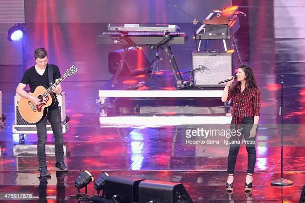 Italian pop singeress Elisa and her husband and guitarist Andrea Rigonat performs at the 2015 Wind Music Awards at Arena di Verona on June 4 2015 in...