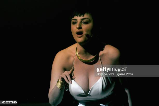 Italian popsinger Arisa aka Rosalba Pippa performs at Duse Theater on February 3 2017 in Bologna Italy