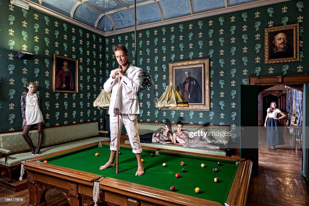 Italian Pornographic Actor And Director Rocco Siffredi Posing - Italian pool table