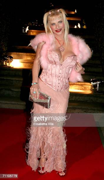 Italian pornostar Ilona Staller attends a party to celebrate Hugh Hefner's 80th birthday, and 50 years of Playboy, at Villa Miani on June 1, 2006 in...