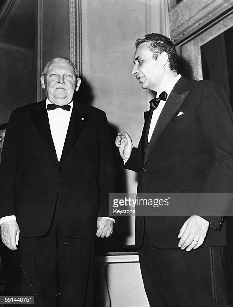 Italian Premier Aldo Moro and German Chancellor Ludwig Erhard attending a dinner at the Villa Palazzo Madama Rome January 28th 1964