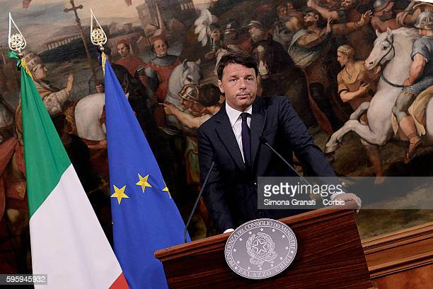 Italian Premier Matteo Renzi at Palazzo Chigi makes a statement to the press on the tragedy of the earthquake in central Italyon August 24 2016 in...