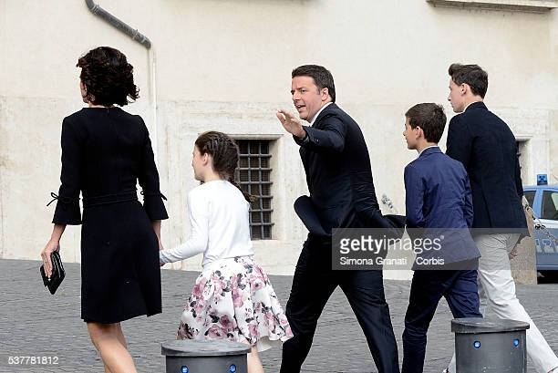 Italian Premier Matteo Renzi, his wife Agnese Landini and their three children, participate at the reception of the President of the Republic for the...