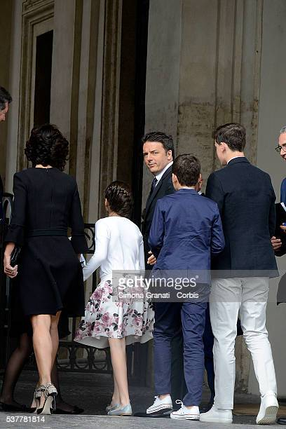 Italian Premier Matteo Renzi his wife Agnese Landini and their three children participate at the reception of the President of the Republic for the...