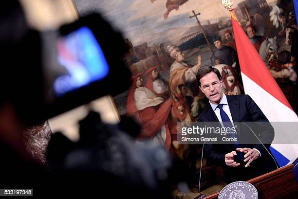 Italian Premier Matteo Renzi received at Palazzo Chigi the Dutch Prime Minister Mark Rutte on May 19 2016 in Rome Italy