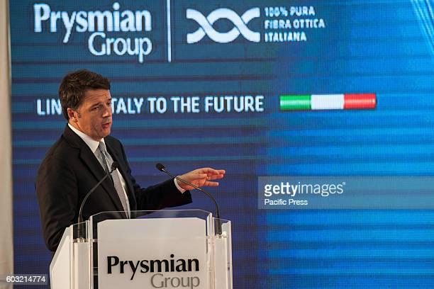 Italian Premier Matteo Renzi visiting Battipaglia, province of Salerno, in the company Prysmian, market leader in communications in the production of...
