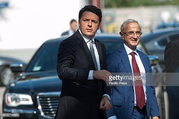 Italian Premier Matteo Renzi visiting the company Prysmian in Battipaglia, province of Salerno. Market leader in communications on the production of...