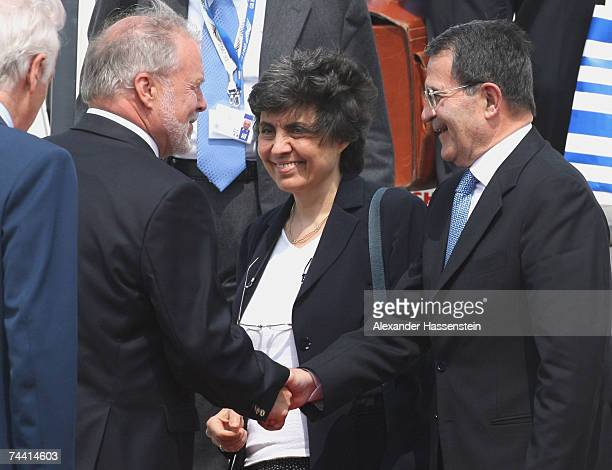 Italian Premier Romano Prodi and his wife Flavia Franzoni Prodi are welcomed by MecklenburgWestern Pomerania's State Premier Harald Ringstorff at the...