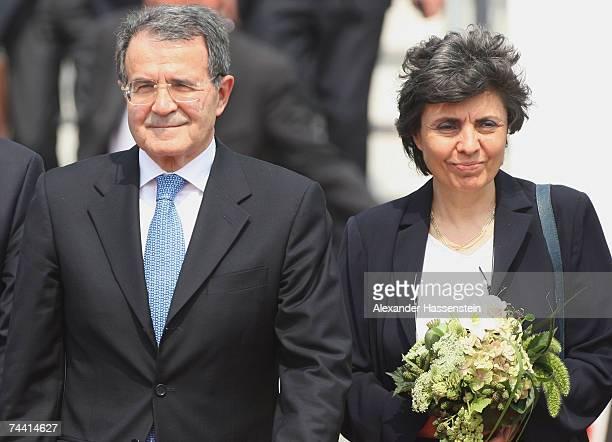 Italian Premier Romano Prodi and his wife Flavia Franzoni Prodi arrive at the airport on June 6 2007 in RostockLaage Germany Prodi along with leaders...